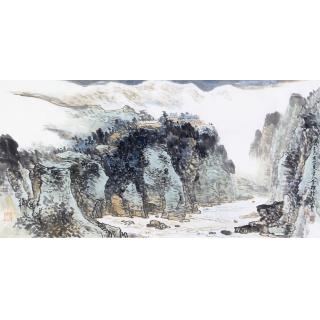 李朴四尺横幅写意山水画作品《穷款》