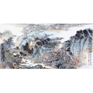 典藏国画 李朴四尺横幅国画山水画作品《遥看》