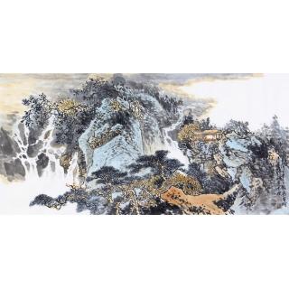 李朴四尺横幅写意山水画作品《泉聲》