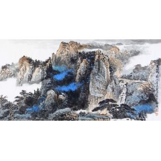 李朴最新力作泼墨重彩山水画作品《黄山归来》