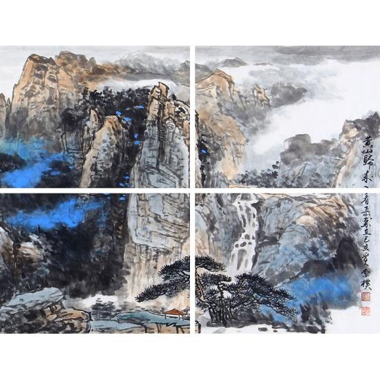 李朴泼墨重彩山水画作品《黄山归来》