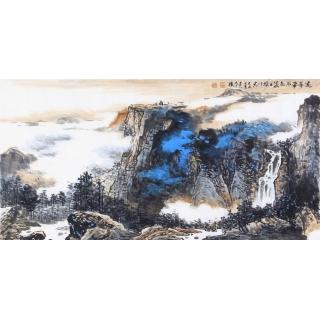 李朴四尺横幅泼彩山水画作品《远峰带雨》
