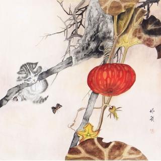 【已售】客厅装饰画 马作武工笔动物画 国画猫《穷款》