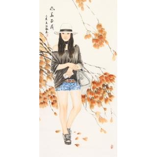 陈红梅四尺竖幅写意人物画《风华正茂》