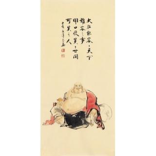 刘汉良佛像人物画作品《皆大欢喜》