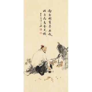 刘汉良写意人物画《静对图》