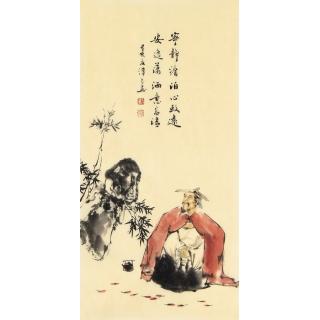 刘汉良小尺寸古代人物画《宁静淡泊心致远》