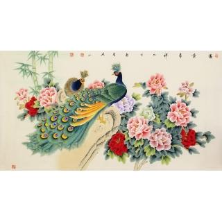 【已售】张洪山六尺横幅工笔孔雀牡丹图《富贵呈祥》