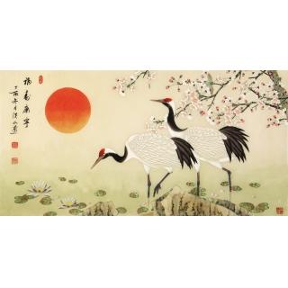 【已售】祝寿首选 张洪山四尺横幅工笔花鸟画《福寿康宁》