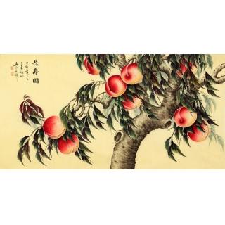 张琳老师最新国画寿桃作品《长寿图》