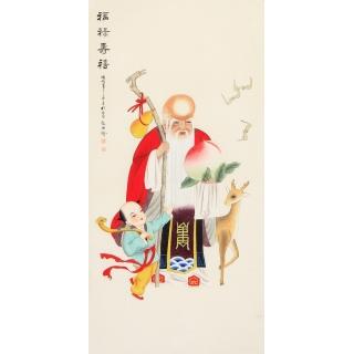 祝寿首选 张琳工笔人物画作品《福禄寿喜》
