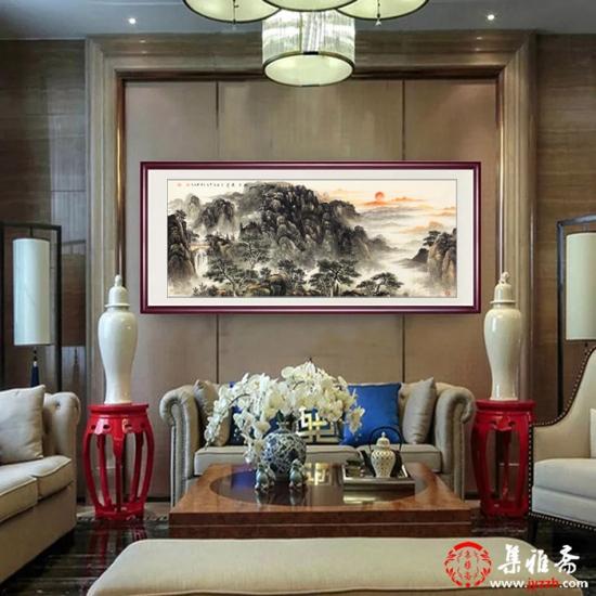 客厅挂画 画家王立全新品山水画《旭日东升》