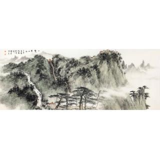 国画名家齐伟家写意山水作品《一览众山小》