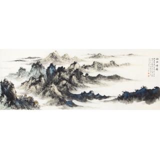 齐伟家最新力作六尺横幅山水画作品《西林云岭》