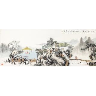 辽宁美协画家齐伟家新品创作国画《溪山访友图》
