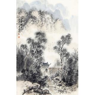 装饰收藏国画 齐伟家小品山水画《大安禅寺》