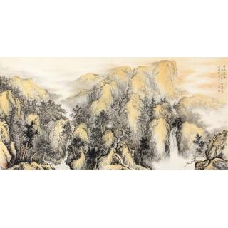 山水画家徐明杰新作(精品)国画作品《紫气东来》