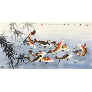 国家一级美术师张洪山四尺横幅花鸟画九鱼图《九鲤如意》