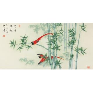 张洪山四尺横幅花鸟画竹子《竹林情趣》