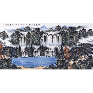 中国美协 王本杰四尺横幅山水画《松壑奔流图》