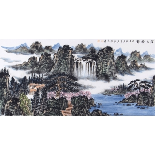 中国美协会员王本杰四尺横幅山水画《溪山奔韵》