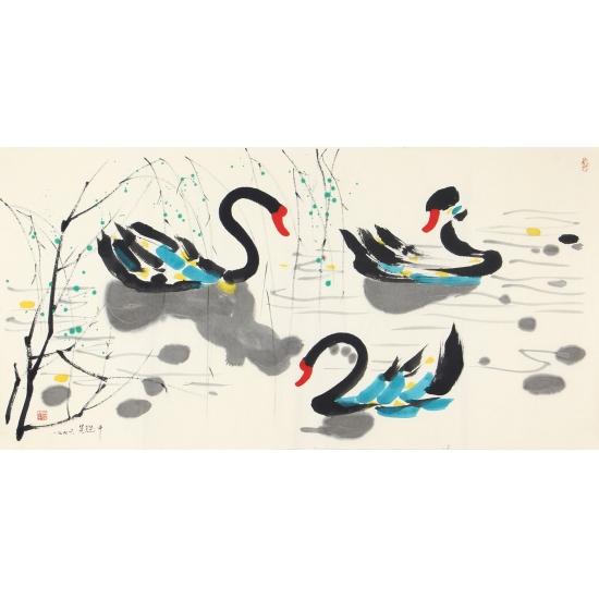 吴冠中四尺横幅书画作品《天鹅》