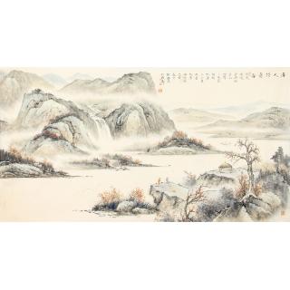 唐人诗意图 四川美协邹丰羽六尺横幅工笔山水画