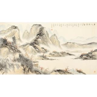 工笔山水画 邹丰羽精品山水画六尺横幅《唐人诗意图》