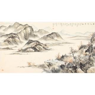 仿古山水画 邹丰羽写意国画作品《唐人诗意图》