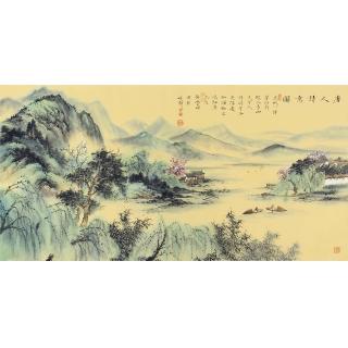 当代名家山水画 邹丰羽精品国画《唐人诗意图》
