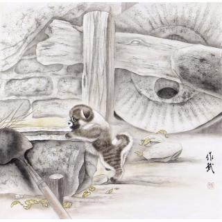 国画狗 马作武四尺斗方画动物画狗系列《狗》