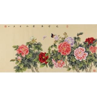 国家一级美术师张洪山国画牡丹四尺佳作《花开富贵》