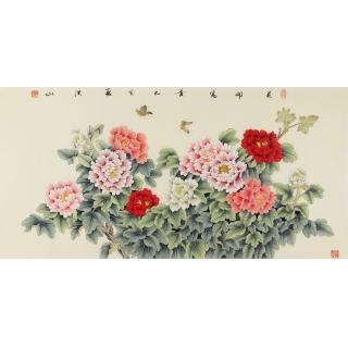 国画牡丹 张洪山四尺横幅工笔牡丹图《花开富贵》