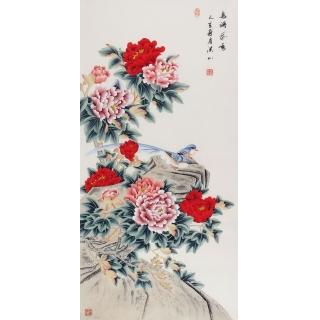玄关/走廊经典挂画 张洪山工笔牡丹画新作《鸟语花香》