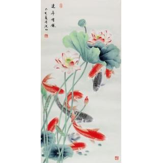 张洪山老师新品荷花九鱼图《连年有余》