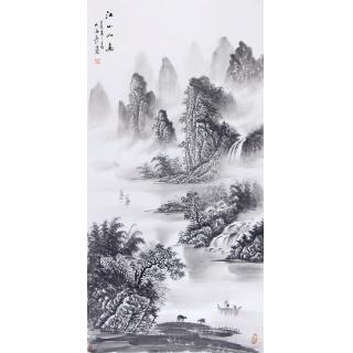 走廊挂画 画家刘大海竖幅山水画作品《江山如画》