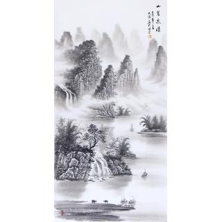 刘大海四尺竖幅山水画作品《山翠泉清》
