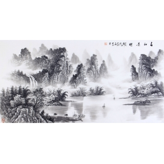 水墨山水 刘大海四尺横幅山水画《春和景明》