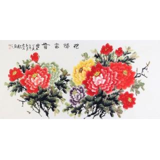 画家李东献新品牡丹画《花开富贵》