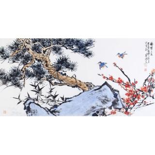 石艺博最新花鸟画作品《岁寒三友》