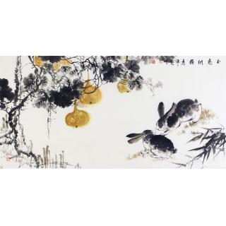 收藏必升值 石艺博老师新品写意玉兔葫芦图《玉兔纳福》