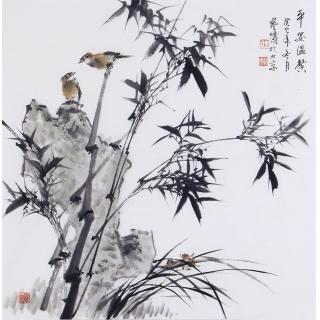 石艺博四尺斗方竹子图《平安温馨》