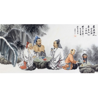 刘中芬四尺人物画作品《莫道醉人唯美酒》