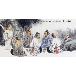 人物画家刘中芬写意人物画作品《竹林七贤》