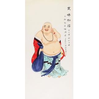 张琳四尺竖幅工笔人物画《笑佛纳福》