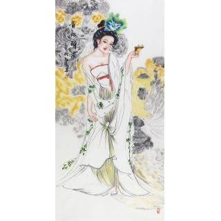 国画仕女图 陈红梅国画人物作品《贵妃醉酒》