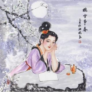 陈红梅四尺斗方人物画仕女图《梅雪争春》
