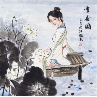 陈红梅四尺斗方人物画仕女画《赏荷图》