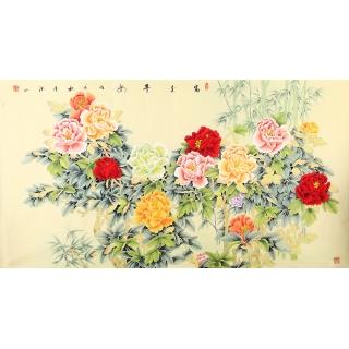 张洪山六尺横幅工笔牡丹竹子图《富贵平安》