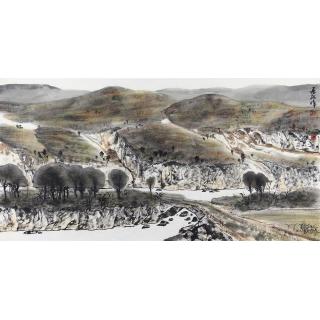 中美协会员王居龙四尺横幅山水画《溪山情》
